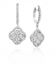 14K White Gold Diamond Cluster with Pave Outline Earrings (0.70tw)