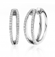 14K White Gold Diamond Two Row Hoop Earrings