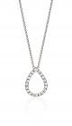 14K White Gold Diamond Pear Shape Pave Pendant 16