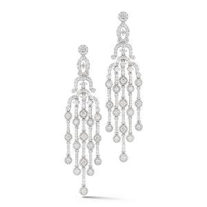 18K White Gold Diamond Chandelier Earrings (4.09tw)