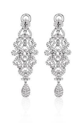 18K White Gold Diamond Chandelier Earrings (5.22tw)