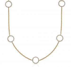 14K Yellow Gold Double Sided Round Shaped Diamond Necklace 16